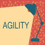Escrevendo a nota que mostra a agilidade A capacidade apresentando da foto do negócio para mover-se para pensar compreende rapida ilustração royalty free