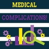 Escrevendo a nota que mostra complicações médicas Foto do negócio que apresenta a evolução ou a consequência desfavorável ilustração stock