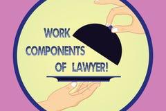 Escrevendo a nota que mostra componentes do trabalho do advogado Acordos apresentando Hu das decisões dos documentos das leis dos ilustração do vetor