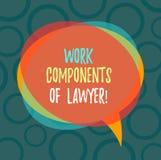 Escrevendo a nota que mostra componentes do trabalho do advogado E ilustração do vetor