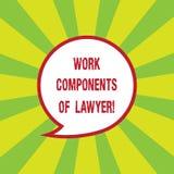 Escrevendo a nota que mostra componentes do trabalho do advogado E ilustração royalty free