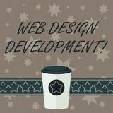 Escrevendo a nota que mostra o desenvolvimento do design web Web site tornando-se apresentando da foto do negócio para hospedar a ilustração royalty free