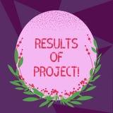 Escrevendo a nota que mostra resultados dos projetos Consequência ou resultado apresentando da foto do negócio de determinadas et ilustração stock