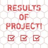 Escrevendo a nota que mostra resultados dos projetos Consequência ou resultado apresentando da foto do negócio de determinadas et ilustração royalty free