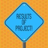Escrevendo a nota que mostra resultados dos projetos Consequência ou resultado apresentando da foto do negócio de determinadas et ilustração do vetor