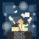 Escrevendo a nota que mostra Rocket Science Foto do neg?cio que apresenta a atividade dif?cil que voc? precisa de ser inteligente ilustração royalty free
