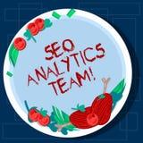 Escrevendo a nota que mostra Seo Analytics Team Exibição apresentando da foto do negócio que faz o processo que afeta a mão em li imagem de stock