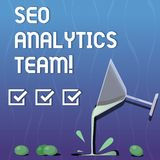 Escrevendo a nota que mostra Seo Analytics Team Exibição apresentando da foto do negócio que faz o processo que afeta a Web em li ilustração do vetor