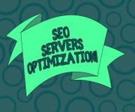 Escrevendo a nota que mostra Seo Servers Optimization Foto do negócio que apresenta a eficiência do funcionamento da rede de SEO  ilustração do vetor
