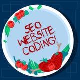 Escrevendo a nota que mostra Seo Website Coding Apresentar da foto do negócio cria o local na maneira para fazê-la mais visível à fotografia de stock royalty free