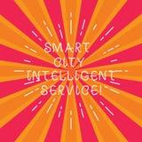 Escrevendo a nota que mostra a Smart City o serviço inteligente Foto do negócio que apresenta cidades modernas tecnologicos conec ilustração do vetor