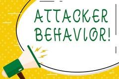 Escrevendo o comportamento do atacante da exibi??o da nota Foto do neg?cio que apresenta para analisar e prever o comportamento d ilustração stock