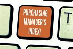 Escrevendo o gerente comprando S Index da exibição da nota Indicador apresentando da foto do negócio da saúde econômica para anal fotos de stock royalty free