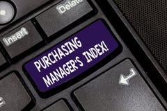Escrevendo o gerente comprando S Index da exibição da nota Indicador apresentando da foto do negócio da saúde econômica para anal fotografia de stock