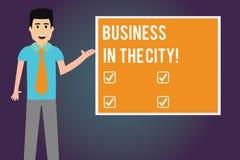Escrevendo o negócio de exibição da nota na cidade Foto do negócio que apresenta escritórios profissionais das empresas urbanas n ilustração do vetor
