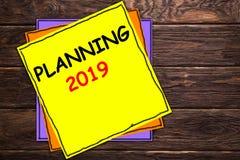 Escrevendo o PLANEAMENTO 2019 da exibição da nota ' imagem de stock royalty free
