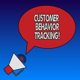 Escrevendo o seguimento do comportamento do cliente da exibição da nota Ação apresentando da foto do negócio que um usuário toma  ilustração royalty free