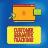 Escrevendo o seguimento do comportamento do cliente da exibição da nota Ação apresentando da foto do negócio que um usuário toma  ilustração stock