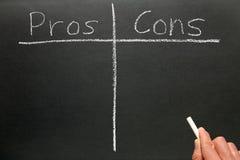 Escrevendo os profissionais - e - contra. Fotografia de Stock