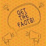 Escrevendo a showingGet da nota os fatos Apresentar da foto do negócio procura a verdade de determinados eventos evidencia a info ilustração royalty free