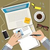 Escrevendo um conceito do resumo do CV do negócio ilustração do vetor