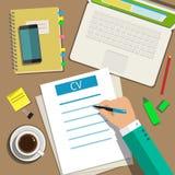Escrevendo um conceito do resumo do CV do negócio ilustração royalty free