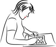 Escrevendo uma letra ilustração stock