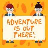 Escrever a aventura da exibição da nota é lá fora Foto do negócio que apresenta Explore para descobrir o curso para conhecer o ho ilustração stock