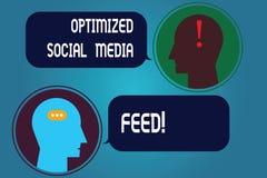 Escrever a exibição da nota aperfeiçoou a alimentação social dos meios Alimentações digitais apresentando da otimização do Search ilustração stock