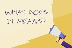 Escrever a exibi??o da nota o que o faz significa a pergunta A foto do neg?cio que apresenta pedindo a significado algo disse e n ilustração royalty free