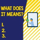 Escrever a exibi??o da nota o que o faz significa a pergunta A foto do neg?cio que apresenta pedindo a significado algo disse e n ilustração stock