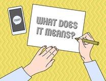 Escrever a exibi??o da nota o que o faz significa a pergunta A foto do neg?cio que apresenta pedindo a significado algo disse e n ilustração do vetor