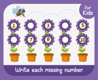 Escriba cada número que falta ilustración del vector