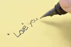 Escriba el amor Fotos de archivo libres de regalías