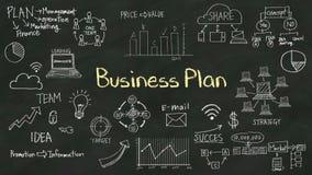 Escriba el concepto de 'plan empresarial' en la pizarra con el diverso diagrama stock de ilustración