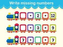 Escriba el concepto del tren de los números que falta ilustración del vector