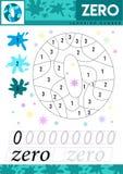 Escriba los números 0 cero Los niños aprenden contar la hoja de trabajo Juego educativo de los niños para los números Ilustración ilustración del vector