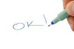 Escriba OK imágenes de archivo libres de regalías