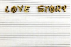 Escriba sus letras de madera de la historia de amor Imagen de archivo libre de regalías