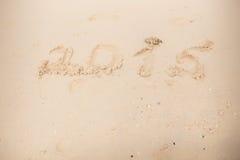 2015 escriben en la arena blanca Fotos de archivo libres de regalías