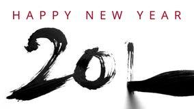 Escribiendo 2016 con un cepillo chino y una tinta gruesa - caligrafía viva por el Año Nuevo - tarjeta de vídeo del saludo en ingl