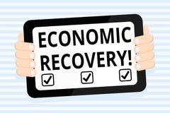 Escribiendo a demostración de la nota la recuperación económica Subida de exhibición de la foto del negocio de actividad económic libre illustration