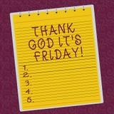 Escribiendo la demostración de la nota agradezca a dios que él S es viernes El comienzo de exhibición de la foto del negocio del  libre illustration