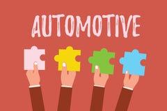 Escribiendo la demostración de la nota automotriz Foto del negocio que muestra relacionado automotor a los coches del motor de ve libre illustration