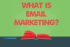 Escribiendo la demostración de la nota cuál es márketing del correo electrónico Publicidad de exhibición de la foto del negocio e imagenes de archivo