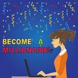 Escribiendo la demostración de la nota haga un millonario Individuo de exhibición de la foto del negocio cuya riqueza es igual o  stock de ilustración