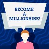 Escribiendo la demostración de la nota haga un millonario Individuo de exhibición de la foto del negocio cuya riqueza es igual o  ilustración del vector