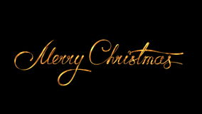 Escribiendo a texto de oro de la cinta Feliz Navidad en fondo negro con Alpha Matte ilustración del vector