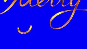 Escribiendo a texto de oro de la cinta Feliz Navidad sobre fondo azul stock de ilustración