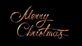 Escribiendo a texto de oro de la cinta Feliz Navidad sobre fondo negro con Alpha Matte ilustración del vector